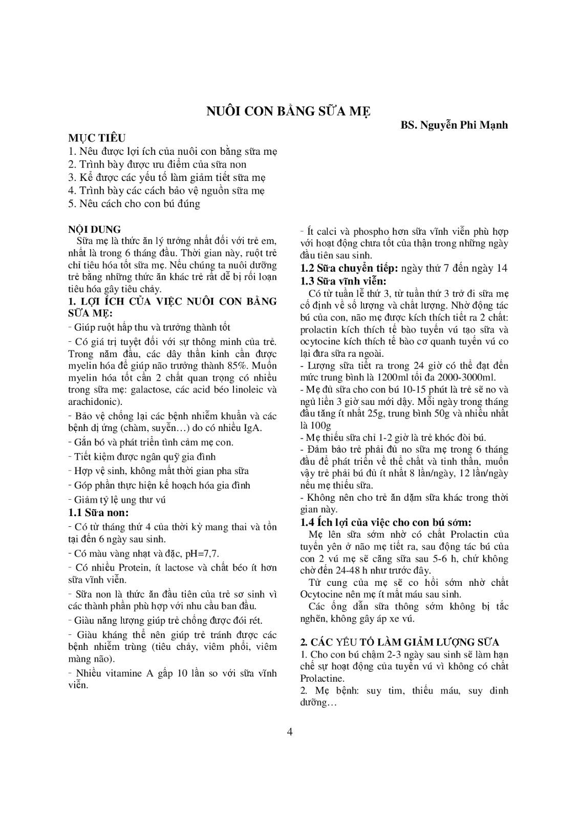 Trang 4 sach Bài giảng Nhi khoa - ĐH Y khoa Phạm Ngọc Thạch