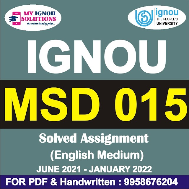 MSD 015 Solved Assignment 2021-22