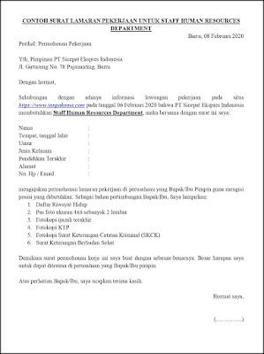 Contoh Surat Lamaran Pekerjaan Untuk Sumber Daya Manusia