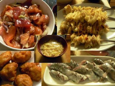 漬丼 唐揚げ 鶏皮塩焼き 鰯刺身 シラス汁