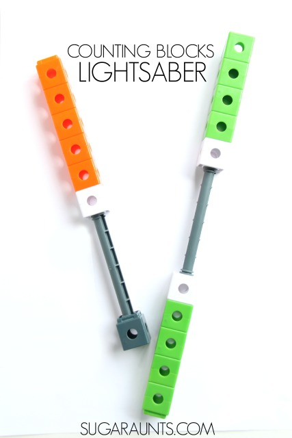 Build a lightsaber using counting blocks or cubes to encourage math through play with your Star Wars fan!