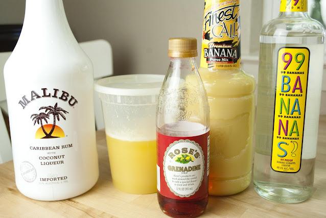 banana pineapple colada, coconut rum, malibu rum, banana liqueur, banana puree, pineapple juice