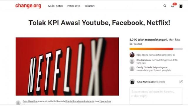 Petisi Tolak KPI awasi YouTube, Facebook dan Netflix