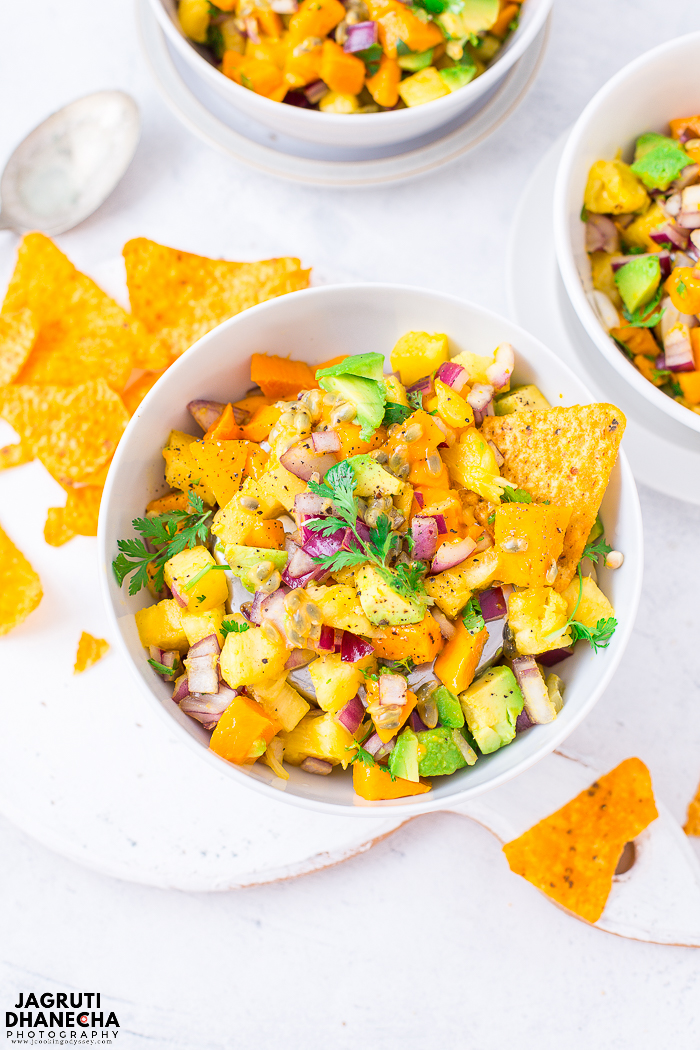 Tropical Mango & Passion Fruit Salsa is a perfect summer recipe and an absolute must for salsa lovers. This recipe is so easy and quick to put together. It's delicious, pretty, customisable and is filled with Indian alphonso mango, passion fruit, pineapple and avocado. This version has all the great flavours and textures, give this adventure a try!