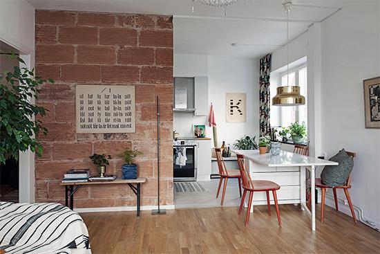 cozinha americana, cozinha, sala, cozinha integrada, kitchen, decor, living, apartamento pequeno, decoracao, small apartment, parede de tijolos