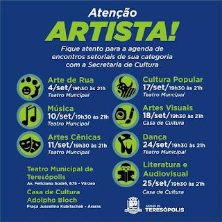 Secretaria de Cultura promove encontros com artistas de Teresópolis