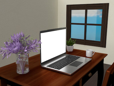 3D Laptop on wooden desk background