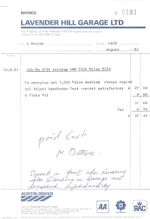 Lavender Hill Garage, London Invoice 10 August 1983