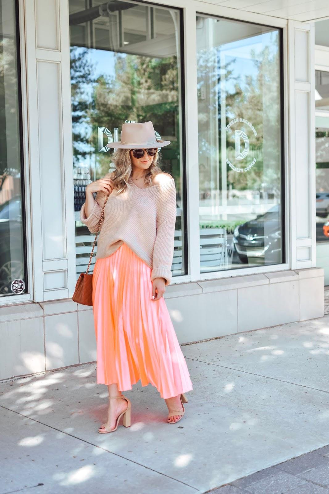 House of Kubes Satin Midi Skirt Oversized Sweater OKC Oklahoma City Blogger
