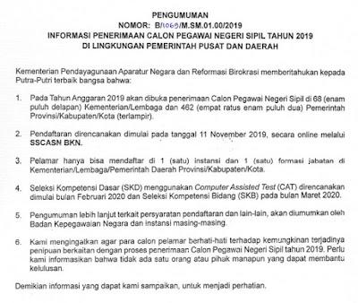 Alokasi Formasi CPNS Pusat dan Daerah 2019