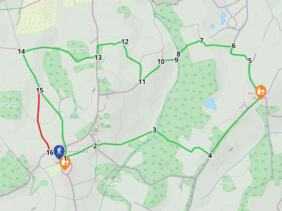 Map for Walk 25: Little Berkhamsted Loop  Created on Map Hub by Hertfordshire Walker Elements © Thunderforest © OpenStreetMap contributors  An interactive map with KML and GPX data is embedded at foot of page