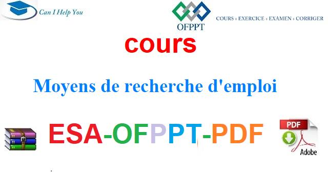 Moyens de recherche d'emploi Électromécanique des Systèmes Automatisées-ESA-OFPPT-PDF