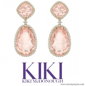 Kate Middleton KIKI MCDONOUGH Morganite and Diamond Double Hoop Earrings