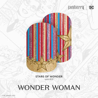 Inspired by DC Wonder Woman, this colorful star-spangled mixed-mani, 'Stars of Wonder' will have you channeling your inner Super Hero in no time. #StarsOfWonderJN  © DC Comics. (s17)