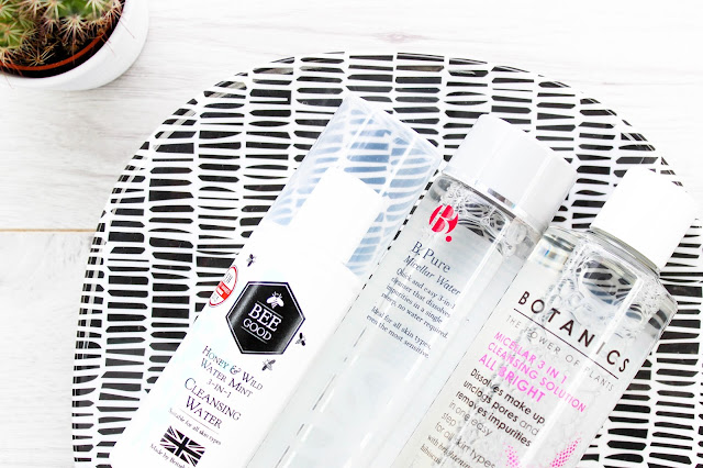 Micellar Water Cleanser Makeup Remover Budget Drustore Cheap Review Boots Botanics Micellar 3 in 1 Cleansing Solution All Bright, Bee Good Honey & Wild Mint 3 in 1 Cleansing Water, B. Pure Micellar Water