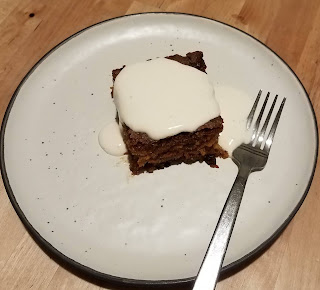 Easy and delicious, One Bowl Carrot Cake with Buttermilk Creme Dessert Sauce.