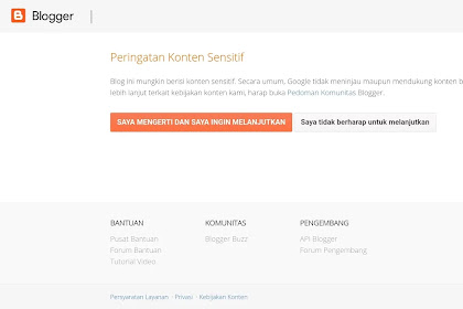 Cara menghilangkan warning konten sensitif pada saat halaman blog pada saat di buka pengunjung