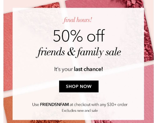 ELF 50% Off Friends & Family Sale