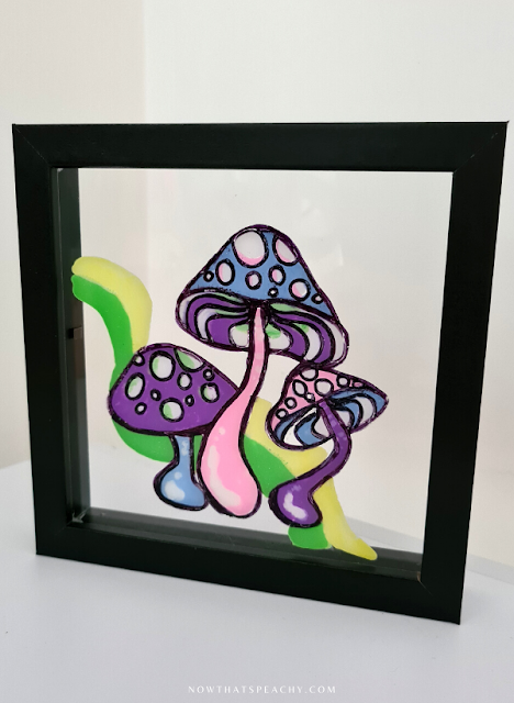 Glass Painting DIY Tik Tok craft trend Mushroom 60s hippie how to reverse collage crafting art glass pasten trending paint tutorial tiktok