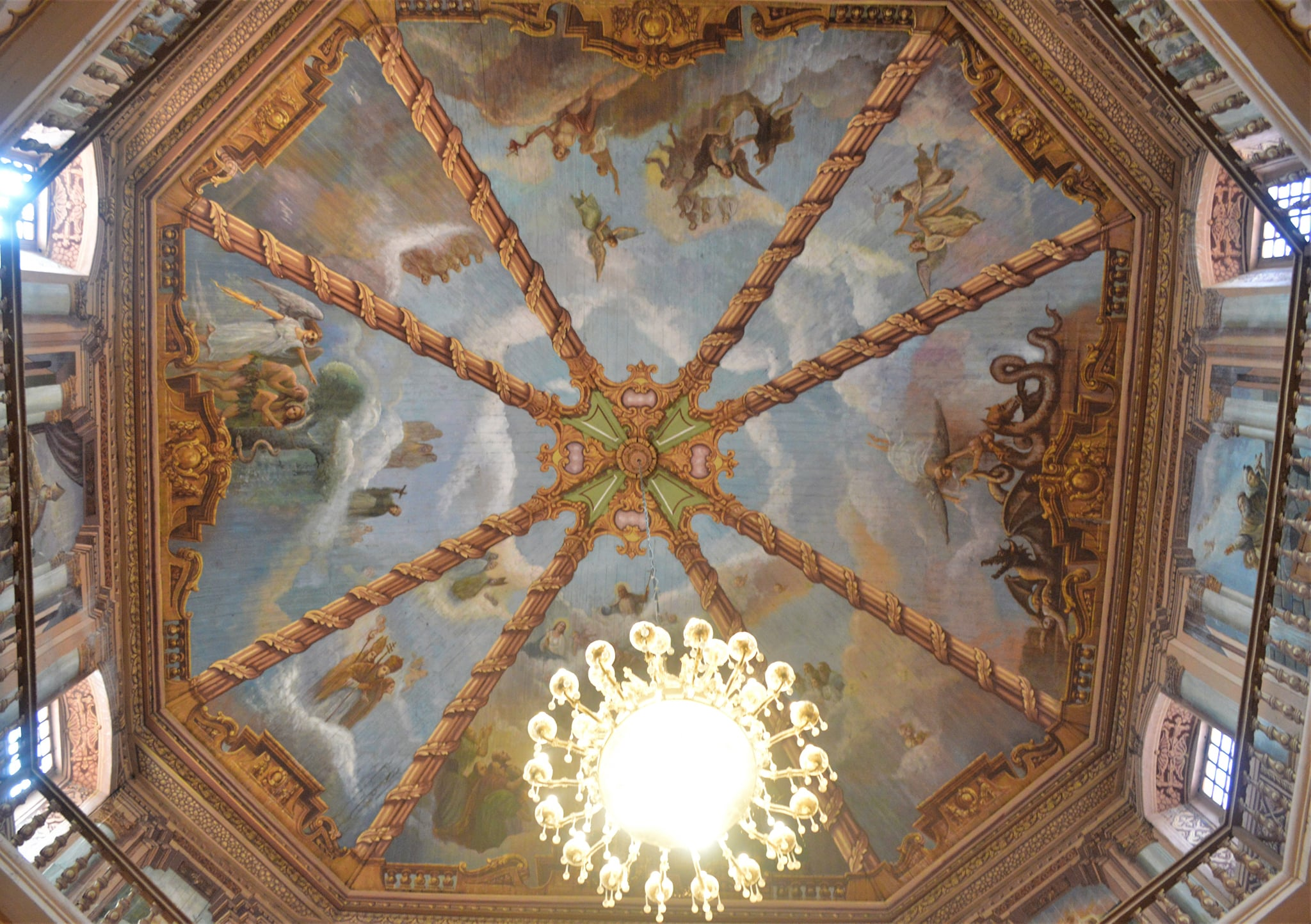 ceiling painting on the dome - Parish Church of Santiago Apostol also known as Betis Church in Guagua, Pampanga