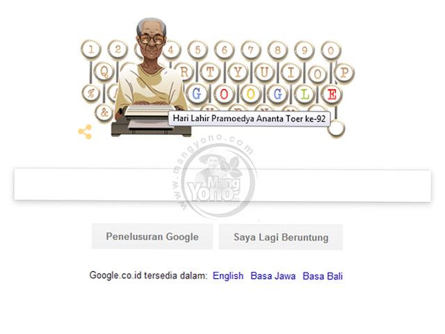 Google Doodle Hari ini Rayakan Ulang Tahun Pramoedya Ananta Toer Ke-92