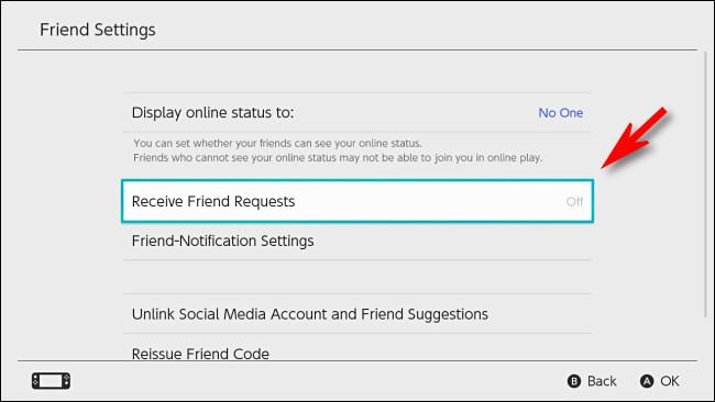 """في تبديل إعدادات المستخدم ، اضبط """"تلقي طلبات الصداقة"""" على """"إيقاف""""."""