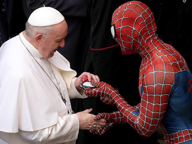 Pope Francis meets Spiderman at Vatican photo