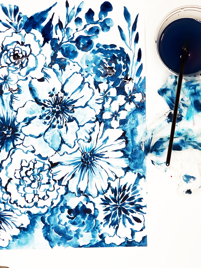 a peek inside my process- blue watercolor flowers