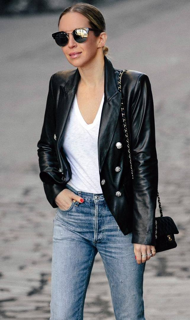 fall outfit idea / black leather blazer + white t-shirt + bag + jeans