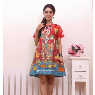 Contoh Baju Batik Wanita Modern Model Batik Terbaru 2018 Batik Pattern Motif Wayang Merah
