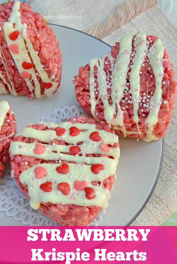 Swoon your Valentine with these Strawberry Krispie Hearts this Valentine's Day ! (only 5 ingredients - including the Chocolate drizzle and Sprinkles)