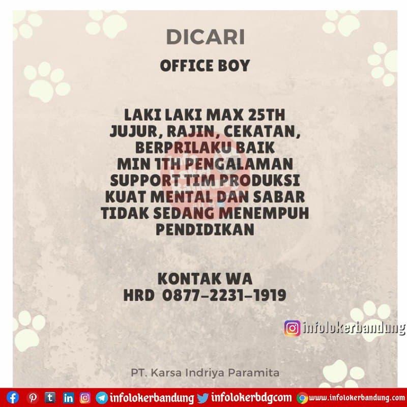 Lowongan Kerja Office Boy PT. Karsa Indriya Paramita Bandung April 2021