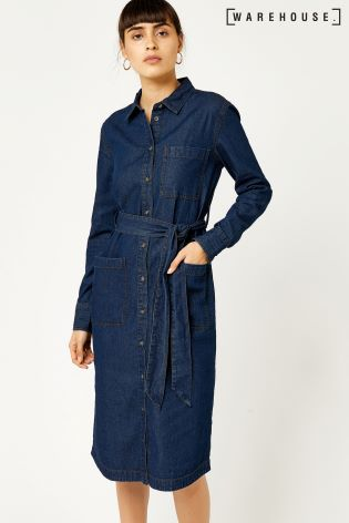 warehouse dark blue belted shirt dress