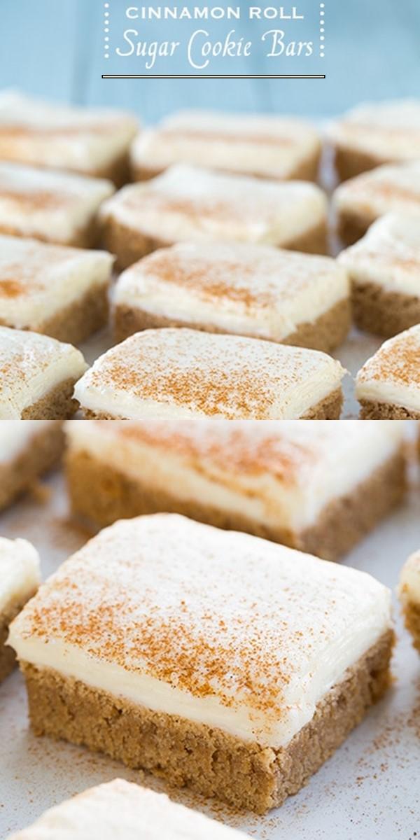 Cinnamon Roll Sugar Cookie Bars #cookiesrecipes