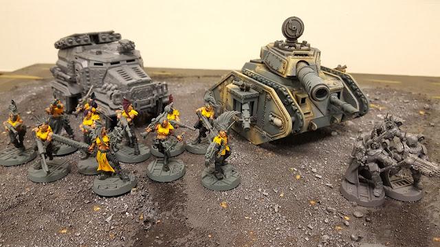 female astra militarum imperial guard armageddon steel legion leman russ tank infantry escher gang militarum tempestus scions storm troopers taurox prime