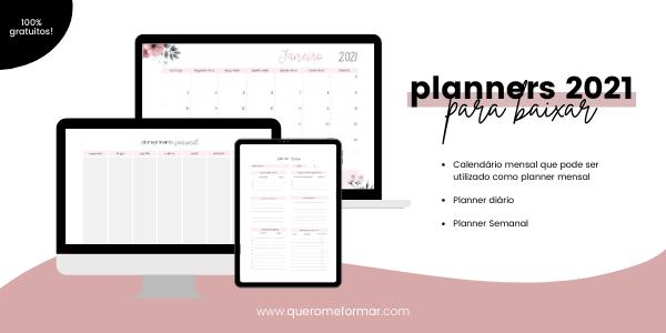 Imagem de Divulgação Planners 2021 Gratuitos e Personalizados para Download e Impressão