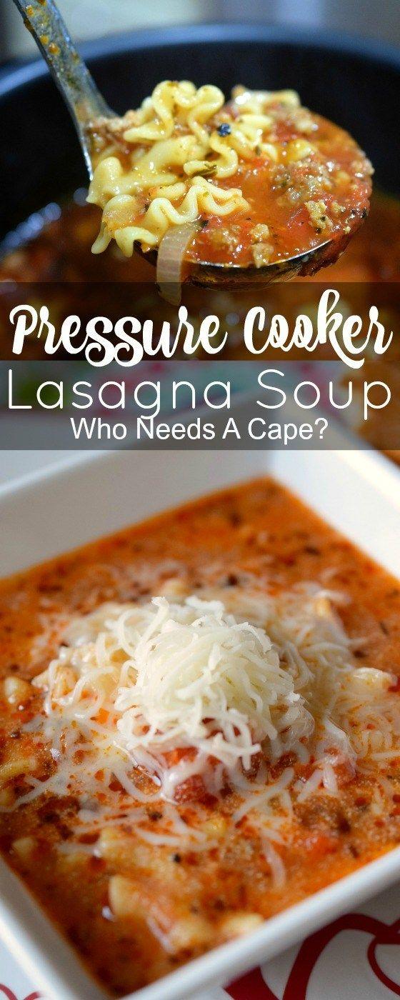 Pressure Cooker Lasagna Soup
