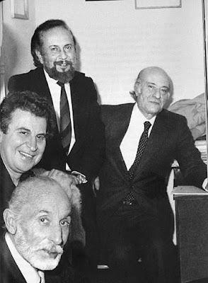 Οδυσσέας Ελύτης, Γιάννης Ρίτσος, Μίκης Θεοδωράκης και Μάνος Κατράκης, το 1966