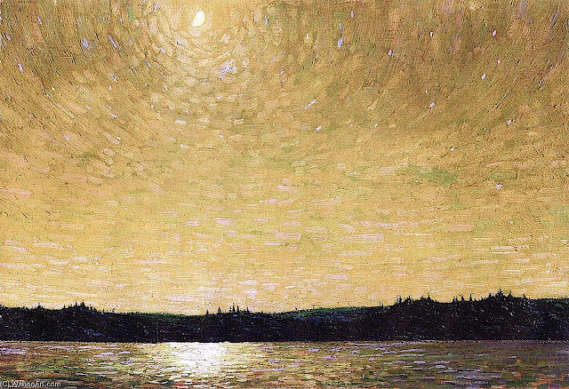 a Tom Thompson painting of an amber sky