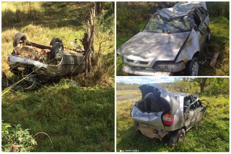 Carro capota e deixa três feridos na Chapada Diamantina