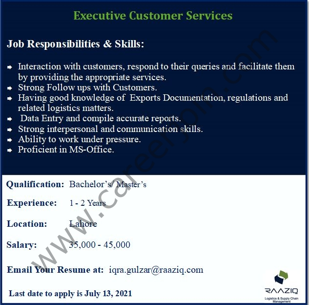 Raaziq International Jobs Customer Experience Manager