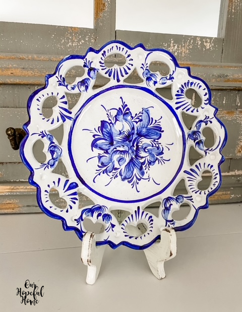 Portugal lattice edge blue and white plate