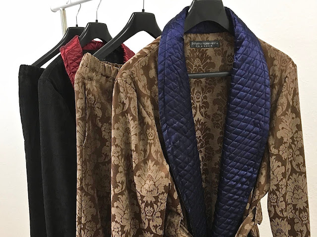 Men's quilted silk collar dressing gown gentleman's smoking jacket robe warm thick large sizes