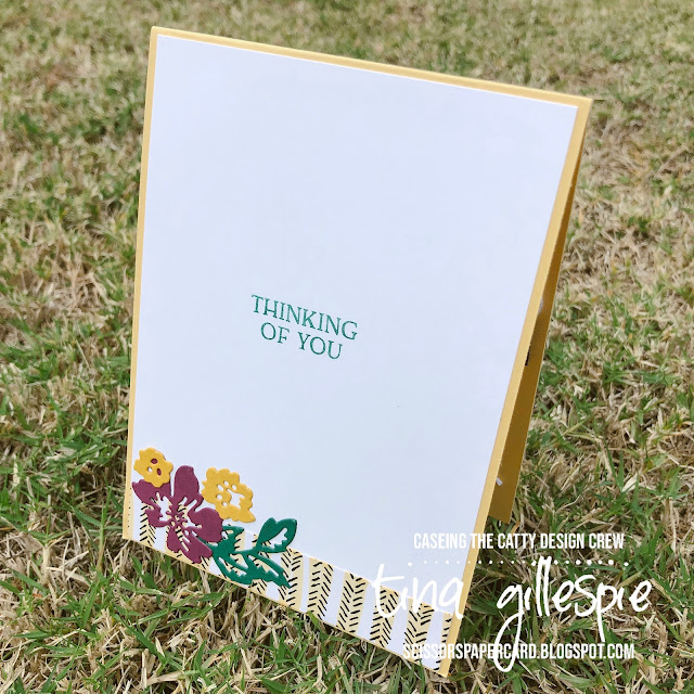 scissorspapercard, Stampin' Up!, CASEing The Catty, Hand-Penned Petals, Blossoms In Bloom, Pattern Party DSP, Penned Flowers Dies, Stampin' Blends