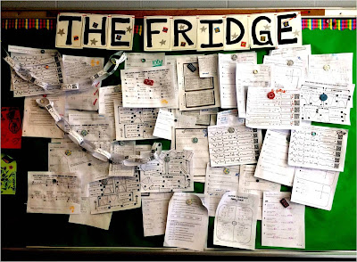 "Displaying Student Work on ""The Fridge"" wall of student math success"