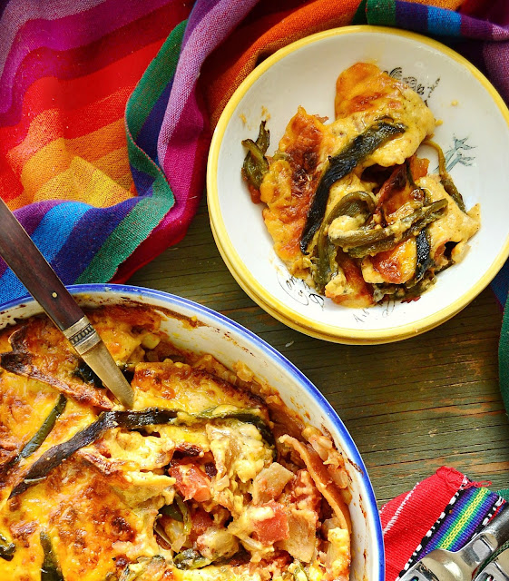 This Mexican poblano cheese casserole is proof that simple ingredients in the right combination, can easily become more than the sum of its parts. This savory, cheesy gratin is home made Mexican goodness! www.thisishowicook.com #MexicanFood #Casserole #Cheese