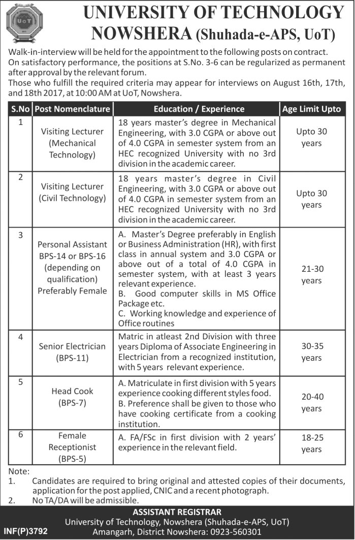 University of Technology Nowshera 6+ Jobs