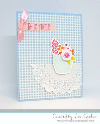 Floral Hello card-designed by Lori Tecler/Inking Aloud-stamps and dies from WPlus9