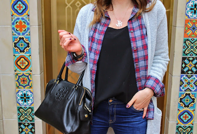 tory burch tassel bag, camel fedora, duster cardigan, plaid top, j.crew plaid top, the best skinny jeans, steve madden booties, monogram necklace, YSL lipstick, highland park village, dallas, jen kubes, what to wear this fall