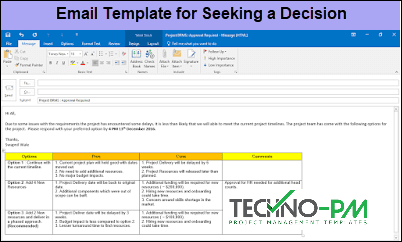email template in outlook, Outlook Email Template for Project Managers, Email Template for Seeking a Decision
